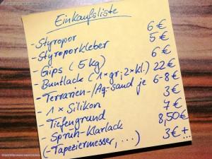 Einkaufsliste Materialliste zum Bau einer Terrariumhöhle Mit rund 70 EUR ist so ein Vorhaben nicht wirklich guenstig